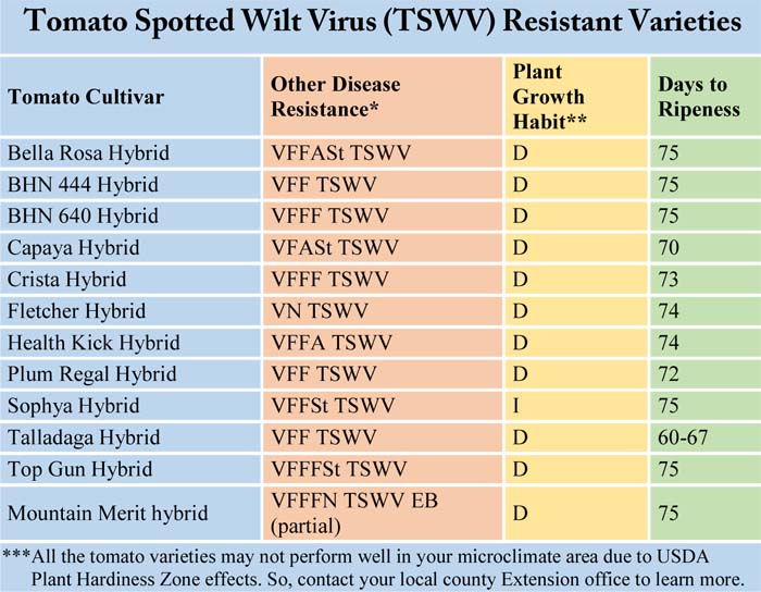 Tomato Spotted Wilt Virus Resistant Varieties,  TSWV