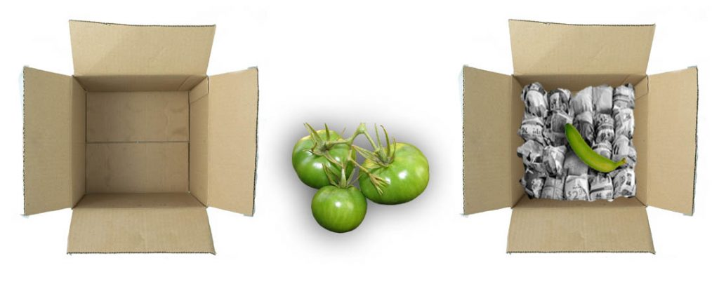 Ripening Green Tomatoes in Cardboard Box,  Ripening Green Tomatoes by Wrapping Newspaper
